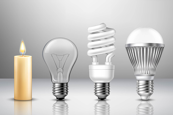 Realistic light evolution concept from candle to modern led bulb on glassy surface isolated vector illustration
